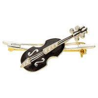 Silver Gilt Seed Pearl Violin Brooch