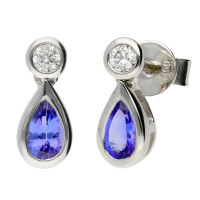 18ct White Gold 0.42ct Tanzanite & 0.08ct Diamond Fancy Earrings