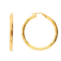 9ct Yellow Gold 35mm Twisted Hoop Earrings