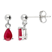 9ct White Gold 6mm Ruby Solitaire Pear Shape Stud Earrings