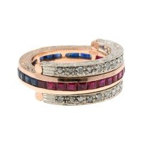 Handcrafted Italian Ruby Sapphire & Diamond Hinged Eternity Ring