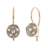 Handcrafted Italian 0.50ct Diamond Cluster Drop Earrings