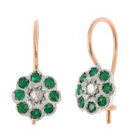 Handcrafted Italian Diamond & Emerald Floral Drop Earrings
