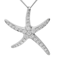 18ct White Gold 0.30ct Diamond Starfish Pendant