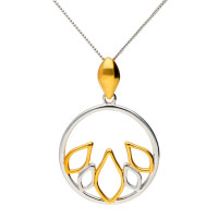 Sterling Silver And Gold Vermeil Fancy Round Pendant