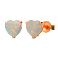 9ct Rose Gold 0.40ct Heart Opal Solitaire Stud Earrings