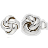 18ct White Gold Knot Stud Earrings