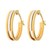 9ct Yellow & White Gold 15mm Fancy Hoop Earrings
