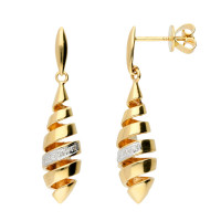 9ct Yellow Gold Diamond Spiral Drop Earrings