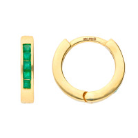 9ct Yellow Gold 0.35ct Emerald Hinged Hoop Earrings