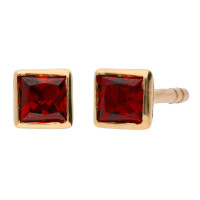 9ct Yellow Gold 0.40ct Square Garnet Solitaire Stud Earrings