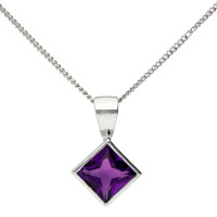 9ct White Gold 0.65ct Amethyst Solitaire Pendant
