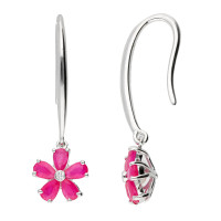 9ct White Gold Ruby & Diamond Flower Cluster Drop Earrings