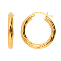 9ct Yellow Gold Chunky Twisted Hoops