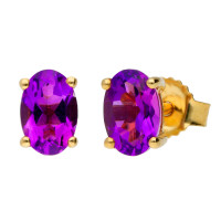 9ct Yellow Gold 6mm Amethyst Solitaire Oval Shape Stud Earrings