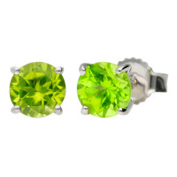 9ct White Gold 1.20ct Peridot Solitaire Earrings