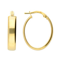 9ct Yellow Gold 19mm Oval Hoop Earrings