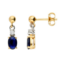 9ct Yellow & White Gold 6mm Sapphire & Diamond Oval Drop Earrings