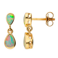 9ct Yellow Gold Opal Double Drop Pear Shape Earrings