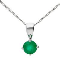 9ct White Gold 0.70ct Emerald Solitaire Pendant