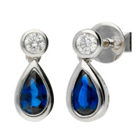 18ct White Gold 0.63ct Sapphire & 0.08ct Diamond Fancy Earrings
