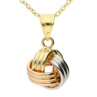 9ct Yellow White & Rose Gold Knot Pendant