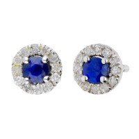9ct White Gold Sapphire & Diamond Halo Cluster Stud Earrings