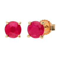 9ct Yellow Gold 5mm Ruby Solitaire Round Shape Stud Earrings