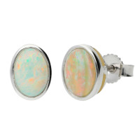 9ct White Gold 1.00ct Opal Cabochon Studs