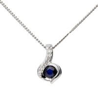 9ct White Gold Sapphire & Diamond Pendant