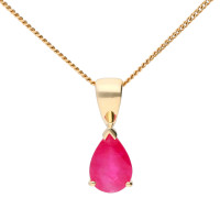 9ct Yellow Gold 0.85ct Pear Ruby Solitaire Pendant