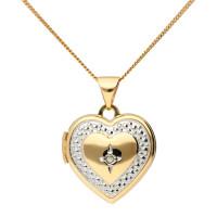 9ct Yellow & White Gold Diamond Heart Locket