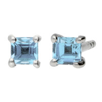 9ct White Gold 3mm Aquamarine Solitaire Square Shape Stud Earrings