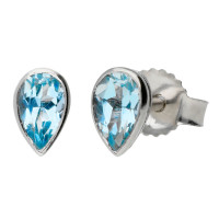9ct White Gold 5mm Aquamarine Solitaire Pear Shape Stud Earrings