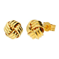 18ct Yellow Gold Ribbed Knot Stud Earrings