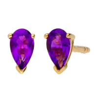 9ct Yellow Gold 5mm Amethyst Solitaire Pear Shape Stud Earrings