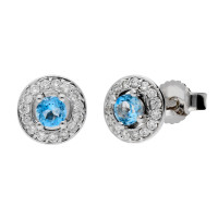 9ct White Gold 0.17ct Aquamarine & 0.11ct Diamond Cluster Earrings