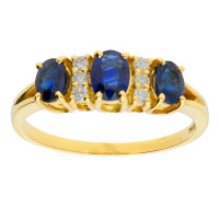18ct Yellow Gold 1.25ct Sapphire & Diamond Dress Ring