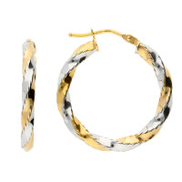 9ct Yellow & White Gold 22mm Twisted Creole Earrings