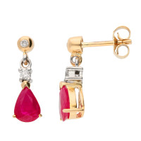 9ct Yellow & White Gold  7mm Ruby & Diamond Pear Shape Drop Earrings