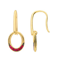 9ct Yellow Gold Ruby Drop Earrings
