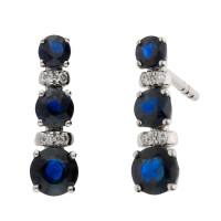 18ct White Gold 0.70ct Sapphire & Diamond Line Earrings