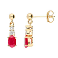 9ct Yellow Gold Ruby & Diamond Fancy Drop Earrings