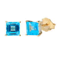 9ct Yellow Gold 5mm Swiss Blue Topaz Solitaire Square Shape Stud Earrings