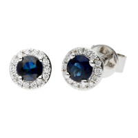 18ct White Gold 0.40ct Sapphire & Diamond Cluster Earrings