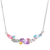 9ct White Gold Multi Gem Fancy Necklace
