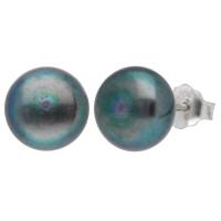 Silver 8mm Freshwater Black Button Pearl Earrings