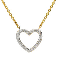 18ct Yellow Gold 0.10ct Diamond Heart Necklace