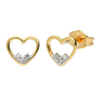 9ct Yellow Gold Diamond Open Heart Studs