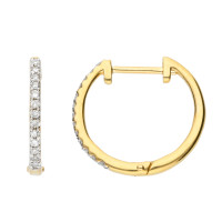 9ct Yellow Gold 12mm Diamond Hoop Earrings